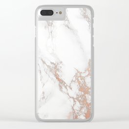 Rosey Marble Clear iPhone Case