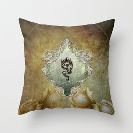 Wonderful tribal dragon on vintage background Throw Pillow