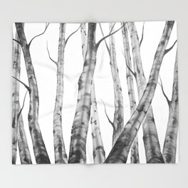 Birch Tree Watercolour Painting black-and-white | Black and White | Minimalism Throw Blanket