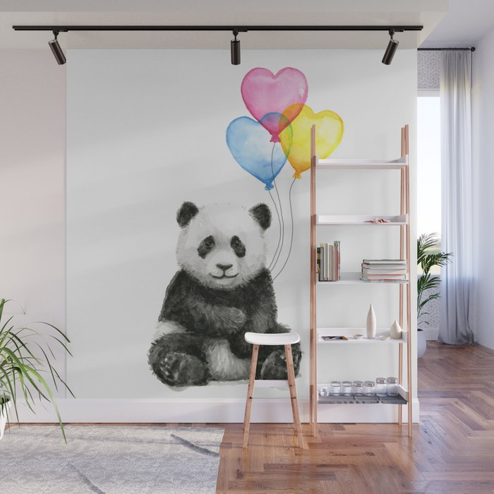 Panda Baby With Heart Shaped Balloons Whimsical Animals Nursery Decor Wall Mural