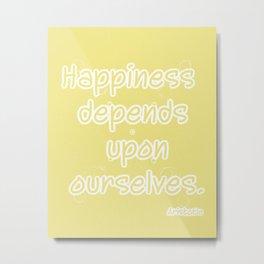 Yellow Aristotle Happiness quote typography Metal Print