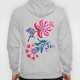 Bohemian Floral Paisley in Turquoise, Red and Pink Hoody