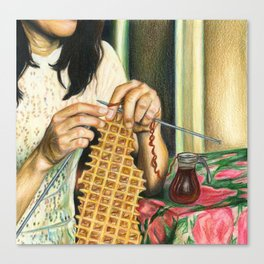 Knitting Waffles Canvas Print