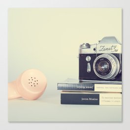 Film Camera and Pink Telephone (Retro and Vintage Still Life Photography) Canvas Print
