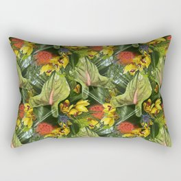Tropical flowers by day Pattern Rectangular Pillow