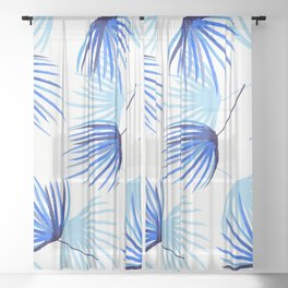 Blue Floral Sheer Curtain