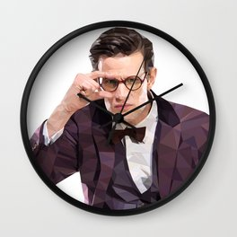 The Eleventh Doctor, Matt smith low poly portrait Wall Clock