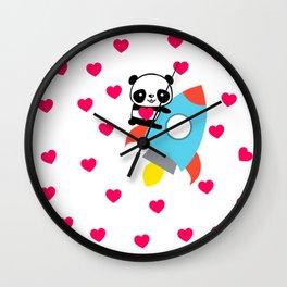 Rocketpanda in Love Wall Clock