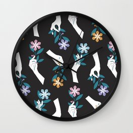 Grasping Flowers Wall Clock
