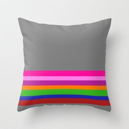 Solid Gray w/ Multicolor Divider Lines #1 - Abstract Art Illustration Throw Pillow