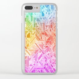 BRIGHT VIBRANT GRADIENT GEOMETRIC SHAPES RAINBOW PRINT TILED MOSAIC TIE DYE COLORFUL Clear iPhone Case