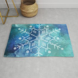 Snowflake on Blue Textured Watercolour Abstract Painting Rug