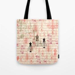 Vintage coral pink mannequin music note collage design Tote Bag