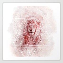 Sacred Majestic Red Lion Spirit Animal Art Print