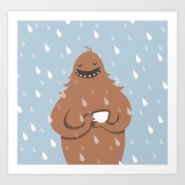 Bigfoot loves coffee Art Print