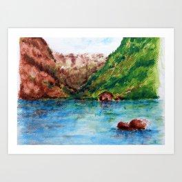 La casita entre montañas Art Print