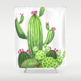 Green Cacti with Pink Flowers Shower Curtain