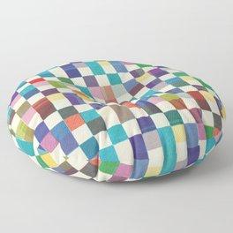 Fair Isle Woolen Quilt Blue Floor Pillow