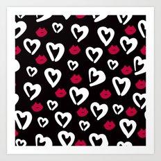 B&W Heart Pattern Art Print