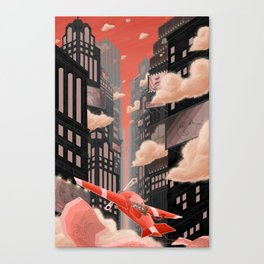 Red Night Flight Canvas Print