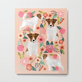 Jack Russell Terrier florals cute pastel flowers gardener with dog pet lover dog art pet portraits  Metal Print