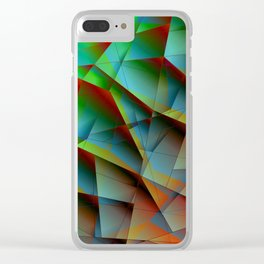 Abstract bright pattern of green and overlapping blue triangles and irregularly shaped lines. Clear iPhone Case