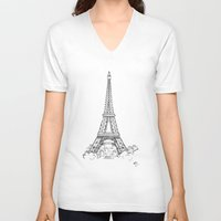 eiffel tower V-neck T-shirts featuring EIFFEL TOWER by DMorrow Art
