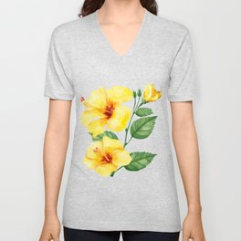 Yellow hibiscus tropical flowers design Unisex V-Neck