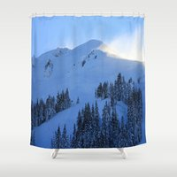 ashton irwin Shower Curtains featuring Ghosts In The Snow by Jeffrey J. Irwin