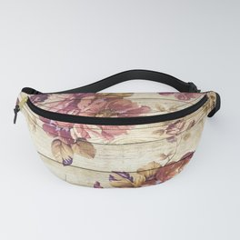 Rustic Vintage Country Floral Wood Romantic Fanny Pack