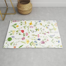 botanical colorful countryside wildflowers watercolor painting Rug