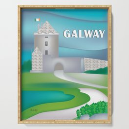 Galway, Ireland - Skyline Illustration by Loose Petals Serving Tray