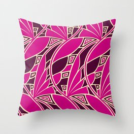 Modern art nouveau tessellations cerise and amber Throw Pillow