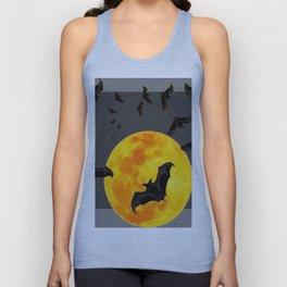 GREY HALLOWEEN BAT MIGRATION TO  MOON ART Unisex Tank Top