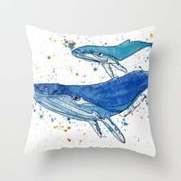 Whale Mommy and Baby Throw Pillow