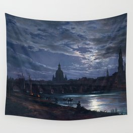 View of Dresden by Moonlight by Johan Christian Dahl (1839) Wall Tapestry