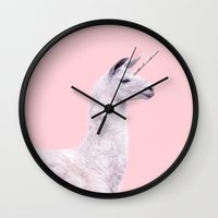 Wall Clocks featuring UNICORN LLAMA by Paul Fuentes