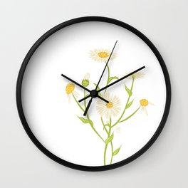 Erigeron Daisies Wall Clock