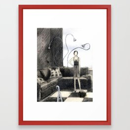 Dolly and Octopus Lamps Framed Art Print