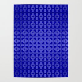 Rich Earth Blue Interlocking Square Pattern Poster