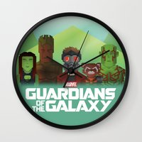 guardians of the galaxy Wall Clocks featuring Guardians of the Galaxy by Casa del Kables