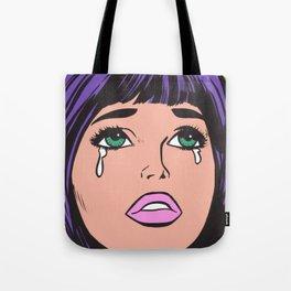 Purple Bangs Crying Comic Girl Tote Bag