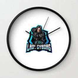 Diseno Logotipo Mascota Lady Cyborg Esport Wall Clock