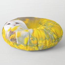 Little Owlet in Flowers (Color) Floor Pillow