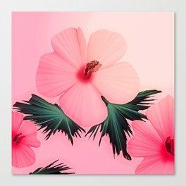 Tropical Pink Hibiscus Flower Print Canvas Print