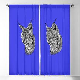 Eurasian lynx - wild cat - ink illustration - navy blue Blackout Curtain