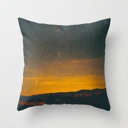 Vintage Sepia Sunset Night Sky Stars Mountain Landscape Throw Pillow