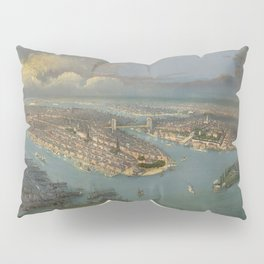 Vintage Pictorial Map of New York City (1880s) Pillow Sham
