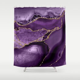 Glamour Purple Bohemian Watercolor Marble With Glitter Veins Shower Curtain