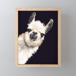 Sneaky Llama in Black Framed Mini Art Print